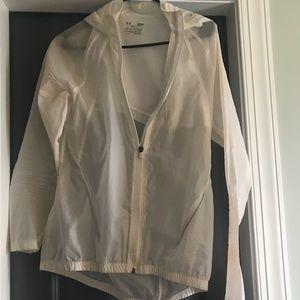 Under armour - white- thin- nylon rain jacket